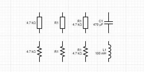 Resistor, inductor and capacitor